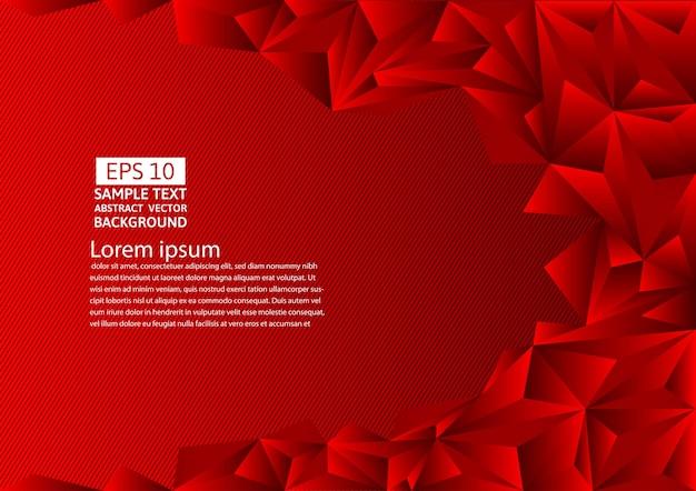 Красный абстрактный фон из многоугольника с копией пространства