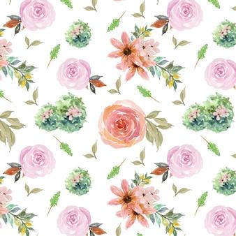 Бесшовный фон с розами и ветвями