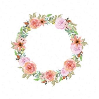 バラと水彩の花のフレーム