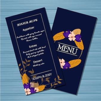 花のメニューウェディングカード、秋の花