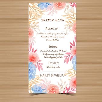 Цветочные меню свадебная открытка с осенними цветами и листьями
