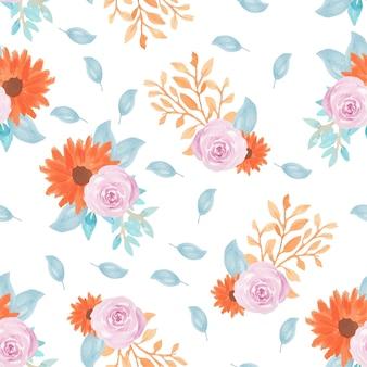 秋の花と葉の花のシームレスパターン