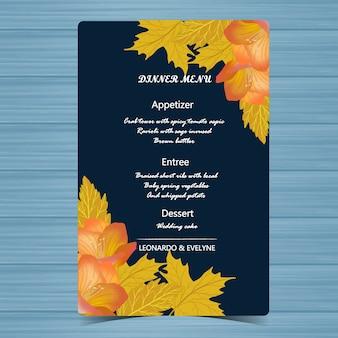 Свадебное меню с осенней цветочной рамкой