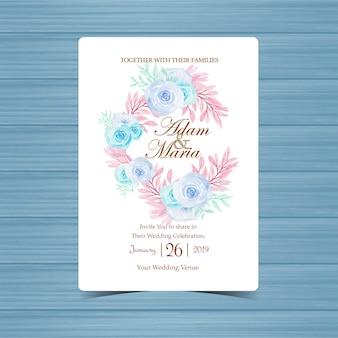 美しい花輪の結婚式招待状