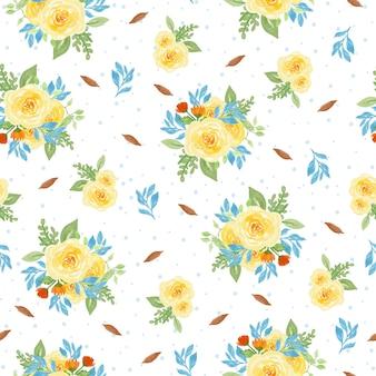 美しい水彩の花のシームレスなパターン