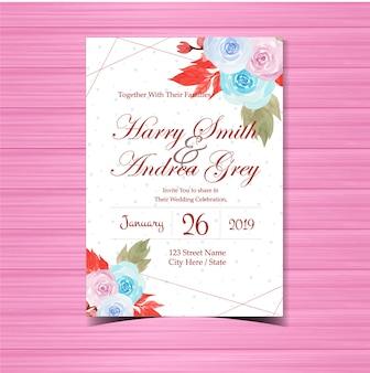 美しい青とピンクのバラと花の結婚式の招待状