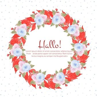 美しい青とピンクのバラの水彩の花のフレーム