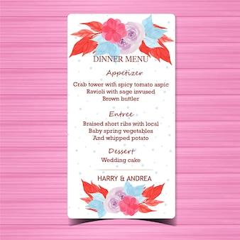 美しい紫のバラと花のウェディングメニューカード