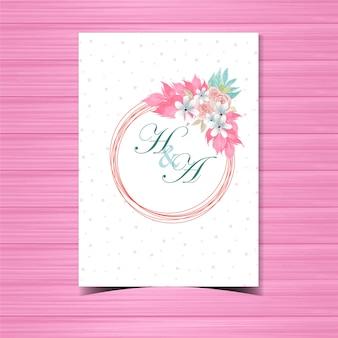 美しいピンクのバラと花の結婚式招待バッジ