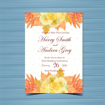 美しい黄色のバラと花の結婚式の招待
