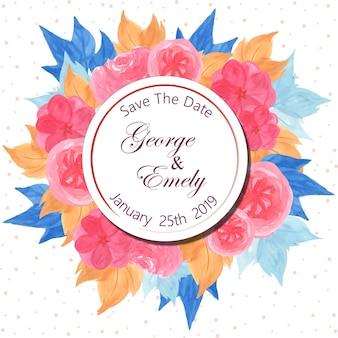 美しいピンクの花と花の結婚式の招待バッジ