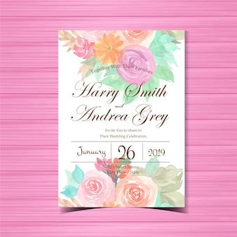 カラフルなバラの花の結婚式の招待状