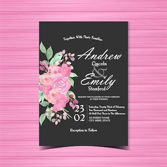 ピンクと黒の花の結婚式の招待状