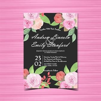 美しいバラと黒の花の結婚式の招待状