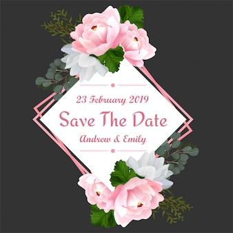 美しいピンクの牡丹と日付の花のフレームを保存します。