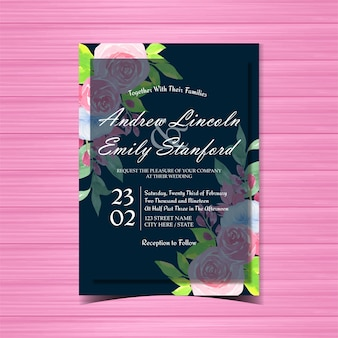 美しい青とピンクのバラの花の結婚式の招待状