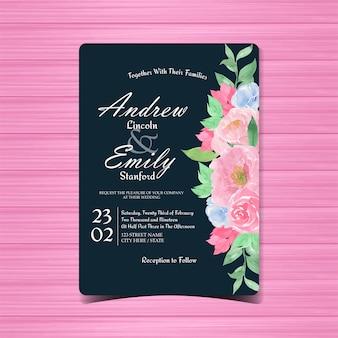 ビンテージ花の結婚式の招待状