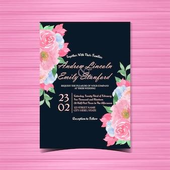 ビンテージ花の結婚式のカード