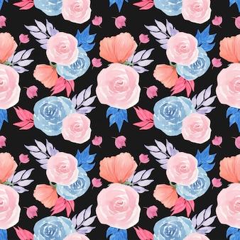 ゴージャスなピンクのバラと水彩花柄シームレスパターン