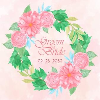 ゴージャスなピンクの花の花輪と花の結婚式の招待状