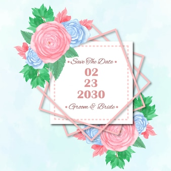 日付を保存花の結婚式の招待状