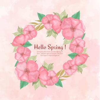 ゴージャスなピンクの花の水彩画の花のフレーム