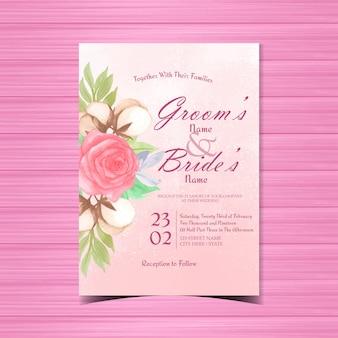 美しい赤いバラとビンテージ花結婚式招待状