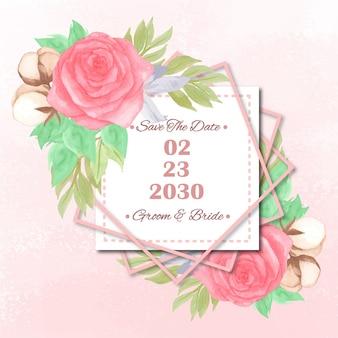 豪華な赤いバラと日付の結婚式の招待状を保存します。