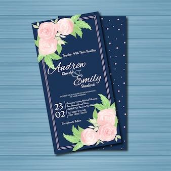 ゴージャスなピンクのバラとネイビーの花の結婚式の招待状