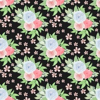 Цветочный бесшовный фон с цветами и сочными