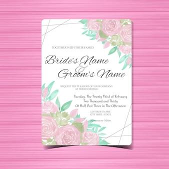 紫色のバラとビンテージのウェディング招待状