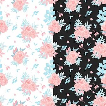ピンクのバラと水彩のシームレスパターン