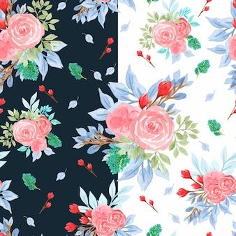 Красочная акварель бесшовный цветочный узор с розами