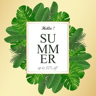 Летняя цветочная рамка с тропическими листьями