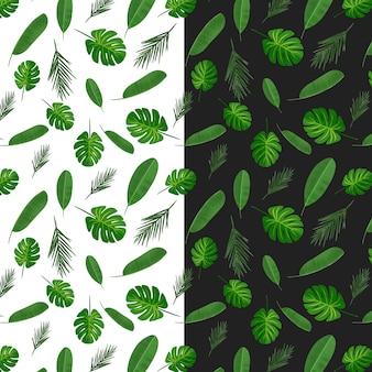緑の葉と熱帯のシームレスパターン