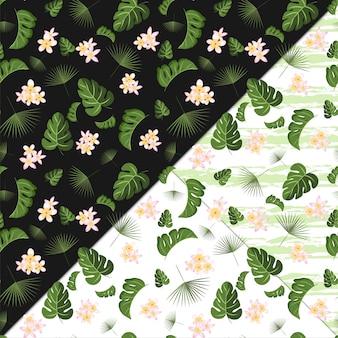 熱帯の花と葉のシームレス花柄