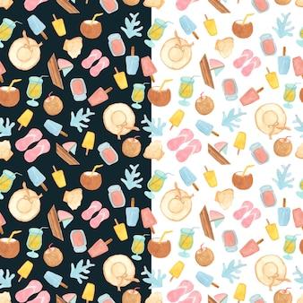 お菓子やビーチの要素とのシームレスなパターン