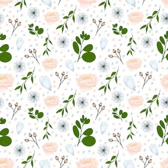 豪華な秋の花と白い花柄シームレス