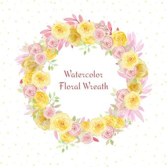 ピンクと黄色の花を持つかわいい水彩花の花輪フレーム