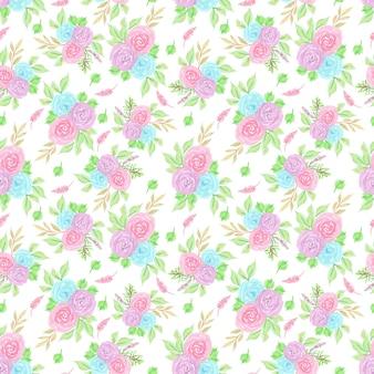 色とりどりの花でシームレスな花柄