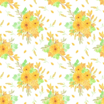 黄色の花の背景とのシームレスな花柄