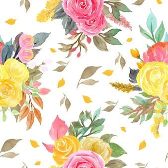赤と黄色のバラとのシームレスなパターン