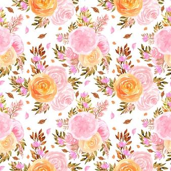 Акварель бесшовный фон с розами