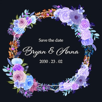 Акварель цветочная рамка с фиолетовыми цветами