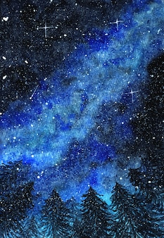 Абстрактное зимнее ночное небо с красивой голубой галактикой