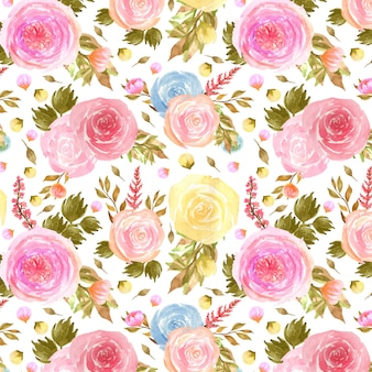 カラフルなバラとのシームレスなパターン