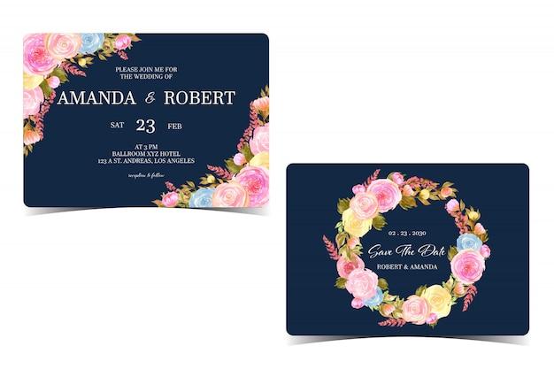 日付カードを保存すると花の結婚式の招待状のセット