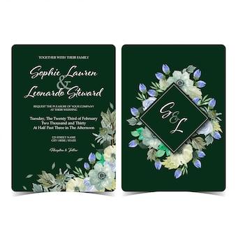 モノグラムと花の結婚式の招待カード