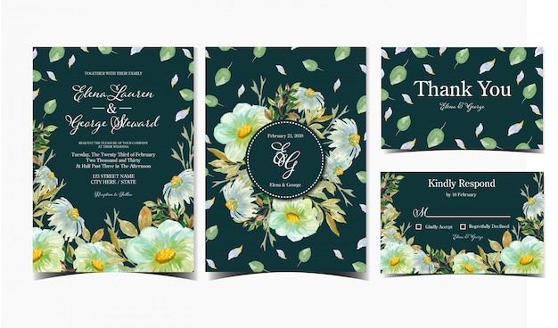 Набор свадебного приглашения с ромашкой и полевыми цветами