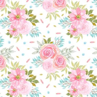 Бесшовный цветочный узор с великолепными розовыми цветами